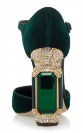 D&G Tasarım Bayan Lüx Kadife Topuklu Yeşil Ayakkabı [ Kadın ]-5