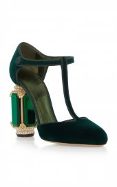 D&G Tasarım Bayan Lüx Kadife Topuklu Yeşil Ayakkabı [ Kadın ]-6