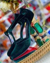 D&G Tasarım Bayan Lüx Kadife Topuklu Yeşil Ayakkabı [ Kadın ]-7