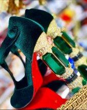 D&G Tasarım Bayan Lüx Kadife Topuklu Yeşil Ayakkabı [ Kadın ]-8