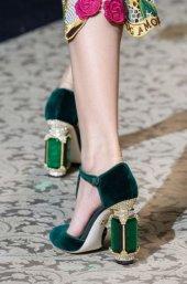 D&G Tasarım Bayan Lüx Kadife Topuklu Yeşil Ayakkabı [ Kadın ]-9