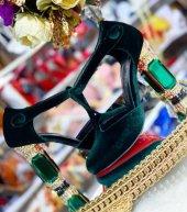 D&G Tasarım Bayan Lüx Kadife Topuklu Yeşil Ayakkabı [ Kadın ]-10