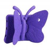 Apple İpad 2 3 4 Kılıf Olix Butterfly Standlı Silikon Mor