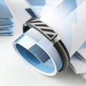Siyah Kauçuk Hasır Çelik Bileklik 5p3d15