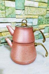 Elegance Granit Çaydanlık Seti Pembe Elepembe