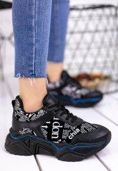 Vira  Siyah Cilt Yazılı Spor Ayakkabı