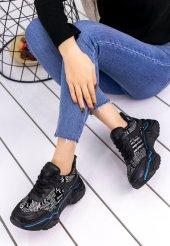 Vira  Siyah Cilt Yazılı Spor Ayakkabı-3