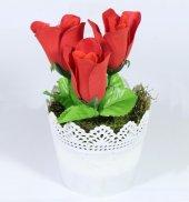 Dantelli Saksıda Yapay Gül Çiçek 17 Cm 3 Renk