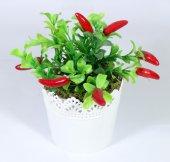 Yuvarlak Dantelli Saksıda Yapay Biber Çiçeği 16 Cm Kırmızı