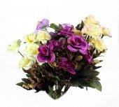 Yapay Gül Demeti Renkli Çiçek Dallı 25 Cm Kırmızı Beyaz Gül