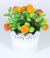 Yuvarlak Dantelli Saksıda Yapay Portakal Çiçeği 17 Cm Turuncu