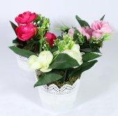 Dantelli Saksıda Yapay Gül Çiçek 15 Cm 3 Renk