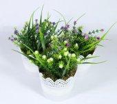 Dantelli Saksıda Yapay Kır Çiçekleri Uzun Yapraklı 17 Cm 3 Renk