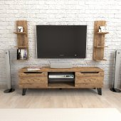 Konfix Mobilya Mugo Tv Ünitesi 150 Cm Cam&parlak Siyah