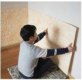 Nw11 Sarı Mermer Tuğla Desen Kendinden Yapışkanlı Tuğla Esnek Sarı Duvar Paneli