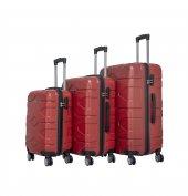 Nuovo Petek Kırmızı 3'lü Seyahat Valiz Seti