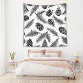 Kozalak Yaprak Deseni Siyah Beyaz Duvar Örtüsü