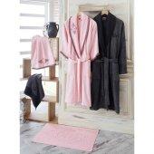 Cotton Box 3d Nakışlı Smart Bambu Aile Bornoz Seti Pudra Antrasit (5 Parça)
