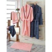 Cotton Box 3d Nakışlı Smart Bambu Aile Bornoz Seti Somon Mavi (5 Parça)