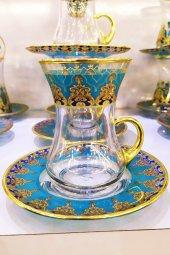 Paşabahçe Hümeyra Kulplu 6 Kişilik Dekorlu Çay Bardağı Takımı