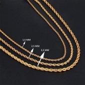 Ferizz Altın Kaplama Burgu Halat Sarı 2,5mm 60cm Zincir Z-106-4