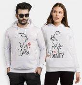 Tshirthane Beast Beauty Gül Sevgili Kombinleri kombini Sevgili Kapşonlu Sweatshirt