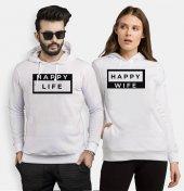 Tshirthane Happy Sevgili Kombinleri kombini Sevgili Kapşonlu Sweatshirt