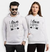 Tshirthane I Love Her Sevgili Kombinleri kombini Sevgili Kapşonlu Sweatshirt