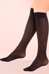 Mite Love Mikro Dizaltı Çorap Irmak Desen Siyah