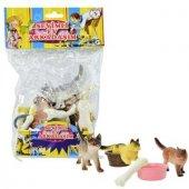 Plastik Sevimli Ev Hayvanları Kedi Köpek 9 Cm 6 Adet