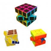 Fosforlu Siyah Zeminli Rubiks Zeka Küpü Sabır Axis Sihirli Küp-3