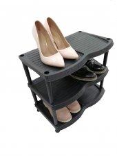 3 Katlı Plastik Ayakkabılık Siyah Kargo Bedava
