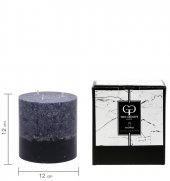 Stone Silindir - Koyu Gri 12 x 12 cm Dekoratif Mum-2