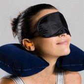 Modacar Mavi Seyahat Uyku Yastığı Kulak Tıkayıcı Göz Bantı Seti 424611