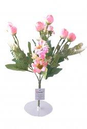 5 Dallı 28 Cm Aranjmanlı Gül Ve Papatya Yapay Çiçek Pembe Ck012pe