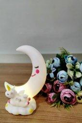 Sevimli Ay Ve Unicorn Dekorlu Renk Değiştiren Gece Lambası (Beyaz)