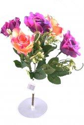 5 Dallı 28 cm Gül Yapay Çiçek  Mor Krem-CK010MK-2