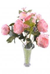 9 Dallı 40 cm Gül Yapay Çiçek Pembe-CK003PE-2