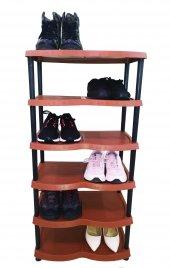 6 Katlı Plastik Ayakkabılık Kahverengi