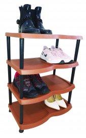 4 Katlı Plastik Ayakkabılık Kahverengi