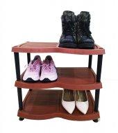 3 Katlı Plastik Ayakkabılık Kahverengi Kargo...