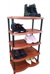 5 Katlı Plastik Ayakkabılık Kahverengi
