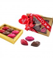 Liva Renkli Dudak Şeffaf Kutu Sevgililer Günü Çikolatası