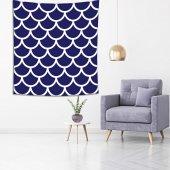 Mavi Beyaz Geometrik Desenli Duvar Örtüsü-4