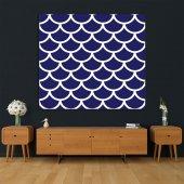 Mavi Beyaz Geometrik Desenli Duvar Örtüsü-5