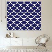 Mavi Beyaz Geometrik Desenli Duvar Örtüsü-6