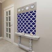 Mavi Beyaz Geometrik Desenli Duvar Örtüsü-7