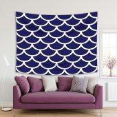 Mavi Beyaz Geometrik Desenli Duvar Örtüsü-2
