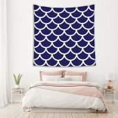 Mavi Beyaz Geometrik Desenli Duvar Örtüsü-3