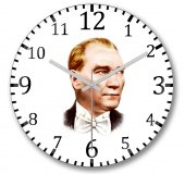 Mustafa Kemal Atatürk4 Duvar Saati Bombeli Gercek Cam